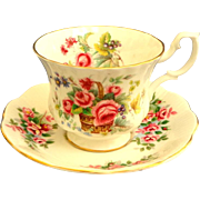 Royal Albert Cup and Saucer.  Ancestral Series. England's Glory Pattern.  Perfect Condition.
