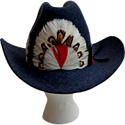 Biltmore Western / Cowboy Hat. Stetson.  Dark Blue with Fancy Feather Band.  Made in Canada.