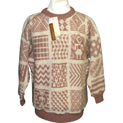 Vintage Alafoss of Iceland 100% Wool Sweater.  Icelandic designs.  NWT!
