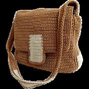 SAK Purse.  Crochet Shoulder / Tote.  Smaller Size.  Baize and White.  Super Versatile.  As Ne