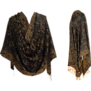 Pashmina.  Silk & Pashmina.  Chocolate Brown and Old Gold.   Large. Luxurious ++.  As New Cond