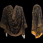 Pashmina.  Silk & Pashmina.  Chocolate Brown and Old Gold.   Large. Luxurious ++.  As New ...