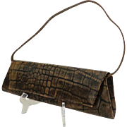 Genuine Leather DANIER Convertible Clutch / Handbag.  Brown Embossed Crocodile Design.  As New
