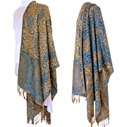 Blue and Baize and Silver Reversible Pashmina.  55% Pashmina and 45% Silk.   Super Gorgeous.