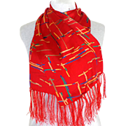 100% Silk 2 Layers. Made in China.  Tomato Red Scarf.  Oblong.  Gorgeous.  As New Condition.