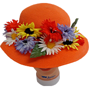 Orange Semi-pancake 1920's Style Easter Bonnet.  Adorable.  Mint Condition.