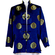 Chinese Jacket / Robe.  Navy and Gold.  Dragons.   Size L. Gorgeous.
