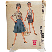 SOLD 1963 Culottes, Shorts and Shirt McCall's Pattern #6864.  Uncut. Unused.