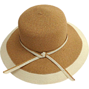 Wide Brim Summer / Sun Hat.  Elegant.  Tan and Cream.  As New Condition.