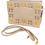 Genuine Leather. RO-EL Crossbody Convertible Clutch Shoulder Bag.  Taupe with Golden Studs.  M
