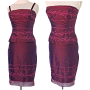 100% Silk Suit.  2 Pieces.  Embroidered Burgundy.  Strapless.  Mint Condition.