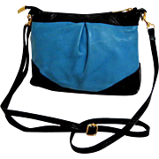 Genuine Leather  Italian Cross Body Purse.  Blue and Black.  Small.  Mint Condition.