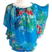 Blue Floral Fully Lined Blouse.  Size Large.  As New Condition.