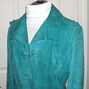 Turquoise Suede Jacket.  Made in London, England.  1965.  Near Mint condition! Size 10 -12.