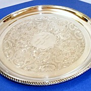 "Elegant, very large, 14""  in diameter Birks (Canada's Tiffany) silverplated tray.  Pristin"