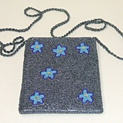 """All-over Beaded Purse.  Dark silver seed beads.  48"""" braided bead strap.  Mint condition."""