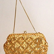 Exquisite Gold Beaded & Sequined Evening Bag.  Perfect condition.