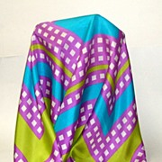 100% Pure Silk Echo Scarf.  Lovely combo of lavender, turquoise, white & lime green.  As New C