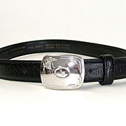 SALE LIZ CLAIBORNE  Black Genuine Leather Belt.  Medium size.  Signed.  Mint, As New, Conditio