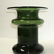 Finland Candleholder  /  Vase.  Art Glass.  Green.  Masterpiece mid-century modern.  Perfect c