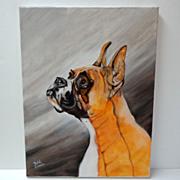 SALE Original Oil on Canvas Portrait of Boxer Dog.  Wonderful!  Appealing! Mint condition.