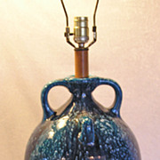 Handcrafted Vintage New Mexican-Southwest Striking Mottled Blue Pottery Lamp Jug Handles-Cryst