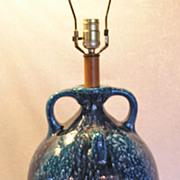 Handcrafted Vintage New Mexican-Southwest Striking Mottled Blue Pottery Lamp Jug Handles ...