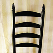 New Hampshire Ladder Back Rush Seated Black Painted Chair – Circa 1830