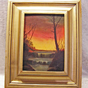 "Miniature Oil Painting c. 1980 ""North Woods"" Waterfall at Sunset"