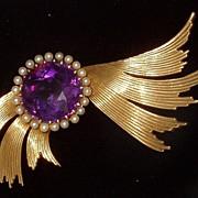 Ca 1920s Winged Amethyst Brooch Pin 14k Salt Water Pearls Free Shipping