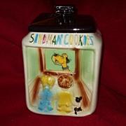 Rare vintage American Bisque Flasher Motion Cookie Jar Children Watching Dog TV
