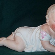 HP German Bisque Piano Baby Figurine Signed