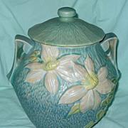 """Roseville Cookie Jar """"Clematis"""" #3-8-B.V. Green Teal"""