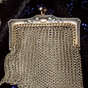 Victorian Metal Mesh Coin Purse Dangles Change