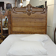 SALE Victorian Oak Tall Back Bed