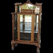 Nice Curved Glass Oak China Display Cabinet