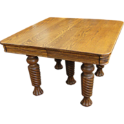Square Oak Dining Table with Barley Twist Claw Footed Legs