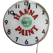 Vintage Hanna Paint Lighted Advertising Clock Telechron
