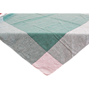 SOLD Vintage Green and White Linen Tablecloth 48 x 48 - Red Tag Sale Item
