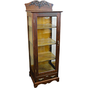 Petite Size Oak China Display Cabinet