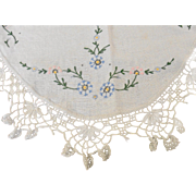 Oval Ecru Linen Tablecloth with Pretty Crocheted Lace Edge TLC Needed
