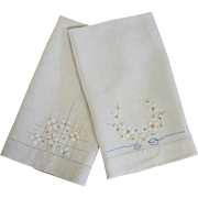 Pair of Vintage Linen Hand Towels with Appliqué Embroidery