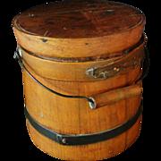 SOLD Small Primitive Wooden Firkin Bucket