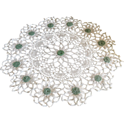 Vintage Round White Crochet Doily with Green Accents
