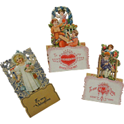 SALE Three Vintage German Die Cut Valentines TLC