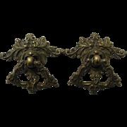 Antique Cast Brass Drawer Pulls Victorian Gothic Gargoyle