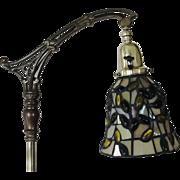 Vintage Floor Bridge Lamp with Leaded Glass Shade