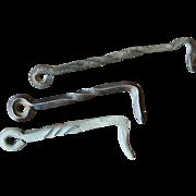 Set of Three Vintage Hand Wrought Twisted Barn Gate Hooks