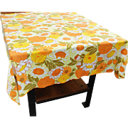 Vintage Mid Century Square Tablecloth 48 x 48