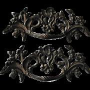 Ornate Antique Brass Drawer Pulls Handles